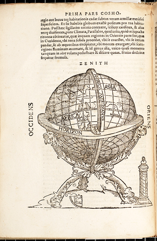 Prima pars cosmo, a 1564 early globe image from the Smithsonian Library collection.