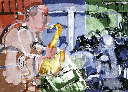 Romare Bearden, Bopping at Birdland (Stomp Time), from the Jazz Series. 1979. Smithsonian American Art Museum