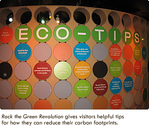 Rock the Green Revolution gives visitors helpful tips for how they can reduce their carbon footprints.