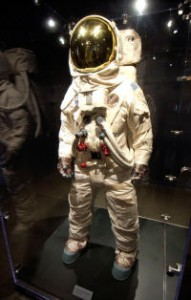A replica of the spacesuit worn by Buzz Aldrin on the Apollo 11 mission is part of the Suited for Space exhibit at the American Textile History Museum. (Sun/Bob Whitaker)
