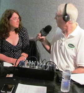 Dr. Kathleen Lyons in an interview with WROD's Cadillac Jack at the MOAS Natural History Festival. Photo courtesy MOAS.