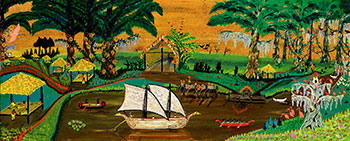 Seminole Indian Summer Camp, ca. 1963, Earl Cunningham, oil on fiberboard, Smithsonian American Art Museum, Gift of Michael and Marilyn Mennello.