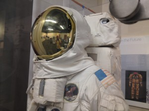 This is a replica of the Apollo 11 space suit. While the space suits were life-giving, remarkable engineering feat in space, they are too fragile for the earth's atmosphere. The originals from the Smithsonian Air and Space Museum do not travel.