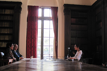Interviews held inside the Western Reserve Historical Society Library utilizing the tall windows as natural lighting for filming