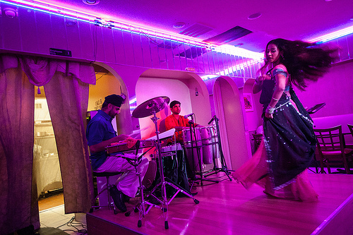 Dancers and musicians perform a Bollywood show at a restaurant in Jackson Heights. Queens, New York Photo by Preston Merchant