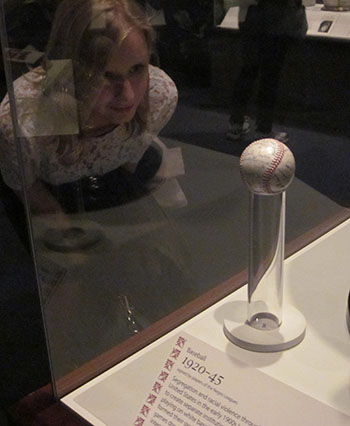 Our amazing intern, Rachel, checking out baseball history at the National Museum of American History.