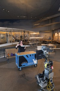 Beth Wilson of the National Air and Space Museum leads a videoconference session on the Wright Flyer.