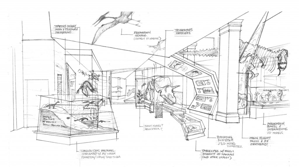 This exhibit sketch featuring a Triceratops and soaring pterosaur brings the world in which the T. rex lived to life, and is just one possibility of what visitors could see after the museum's largest, most extensive exhibition renovation is complete. The Nation's T. rex arrived at the National Museum of Natural History on April 15, and will be the centerpiece of the museum's new 31,000-square-foot dinosaur and fossil hall, which is slated to open in 2019. (Courtesy Smithsonian Institution)