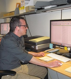 JA Pryse from the Oklahoma Historical Society hard at work in the Smithsonian Institution Archives.