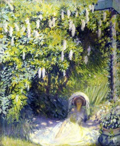 Philip Leslie Hale. American, 1865-1931. Wisteria, circa 1895. Oil on canvas. (Collection of Dr. William H. and Nancy Marshall). On view at the Peoria Riverfront Museum.