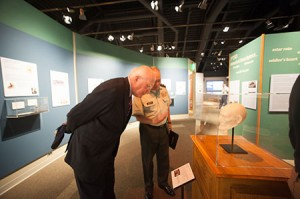 During the affiliation announcement at the Sullivan Museum, Senator Patrick Leahy (D-VT) and Norwich University President Richard W. Schneider viewed a Lincoln mask produced with a 3D printer using Smithsonian 3D model. Photo credit: Norwich University/Mark Collier