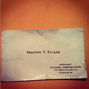 Preston Tucker's business card.  Photo courtesy of the Antique Automobile Club of America Museum.
