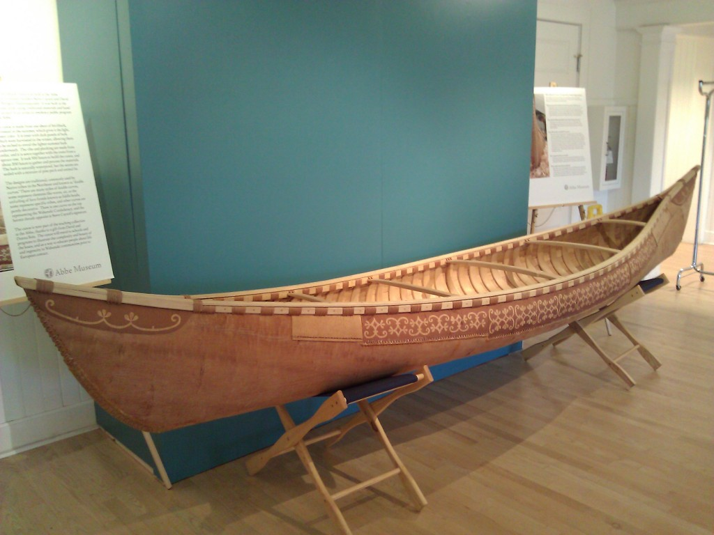 A unique birch bark canoe at the Abbe Museum in Bar Harbor, Maine