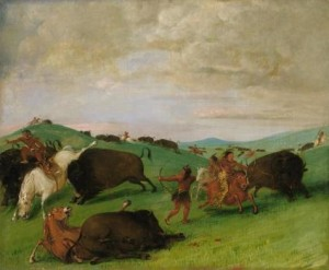 George Catlin, Buffalo Chase, Bulls Making Battle with Men and Horses. 1832-1833, oil on canvas, Smithsonian American Art Museum, Gift of Mrs. Joseph Harrison, Jr.
