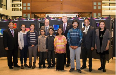 A reception for the Cerritos Library's Youth Capture the Colorful Cosmos astrophotography exhibit was enjoyed by participating students and City of Cerritos officials. Pictured from the left are Mayor Mark E. Pulido, Olivia Zhang, Millie Zhang, Aman Siddiqui, Azan Siddiqui, Rhea Jethvani, Councilmember Bruce W. Barrows, Saahil Iyer, Planning Commissioner Naresh Solanki and Mayor Pro Tem Carol K. Chen.