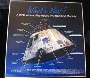 The Command Module, Apollo 9 (Gumdrop) is on loan to the San Diego Air and Space Museum from the Smithsonian National Air and Space Museum.