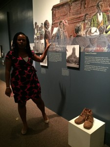 Brittany models the kinds of tours that teens might give of ACM's How the Civil War Changed Washington exhibition.