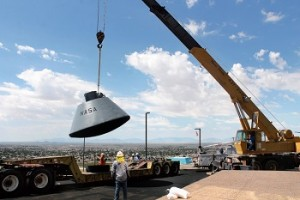 NASA boilerplate, BP-1207, was delivered to the New Mexico Museum of Space History Wednesday after it was restored and painted by Holloman Air Force Base airmen. (Tara Melton — Daily News)