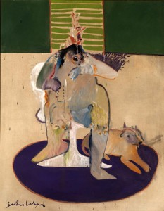 "Fritz Scholder (1937-2005); ""Indian and Contemporary Chair;"" oil on linen; 1970; Smithsonian American Art Msueum, Gift of Judge and mrs. Oliver Seth. On view at the Denver Art museum."