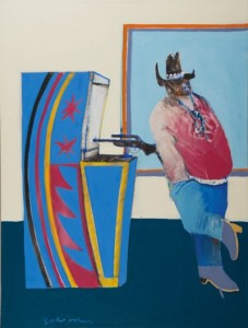 Fritz Scholder, Indian at a Gallup Bus Depot, 1969, Oil paint on canvas, 40 × 30 in. Booth Western Art Museum permanent collection, Cartersville, GA, 2013.011.001 Photo courtesy Louis Tonsmeire, Jr., © Estate of Fritz Scholder.
