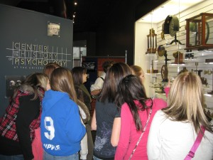 High-school students explore exhibits at the Museum of Psychology at the Cummings Center for the History of Psychology. Archives of the History of American Psychology, The University of Akron