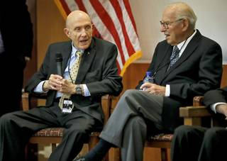 Astronauts Thomas Stafford, left, and James Lovell speak Wednesday during a news conference on the 50th anniversary of the Gemini 6 flight at the Oklahoma History Center. Photo by Chris Landsberger, The Oklahoman