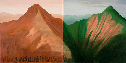 Farewell to the Farewell to the Smokies, 2007. Oil on wood panel, 36 x 72 x 1 in. Denver Art Museum: William Sr. and Dorothy Harmsen Collection, 2008.14. Photo courtesy of the Denver Art Museum