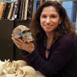 Briana Pobiner of the National Museum of Natural History holds a hominid skull.