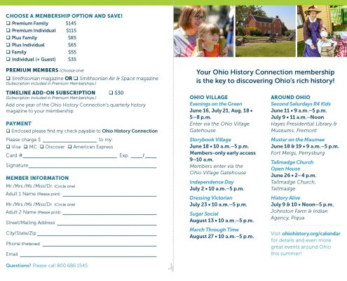 Ohio History Connection membership brochure