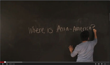 Image of man at chalkboard writing, Where is Asia-America?