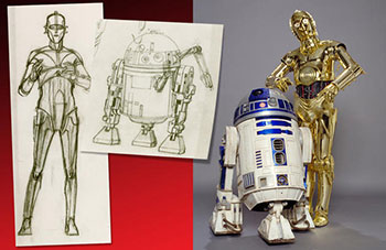 """Star Wars and the Power of Costume"" showcases not only the outfits that have become iconic, but the process behind the creation of the characters and their adornments. In the exhibition, you'll see both concept art (left) and the final looks (right), including these of C-3PO and R2-D2 from ""Star Wars: A New Hope"" and ""Star Wars: The Empire Strikes Back."" —Photo © & ™ 2016 Lucasfilm Ltd. All rights reserved. Used under authorization"