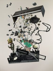 Disassembled flip clock