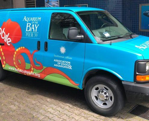 Aquarium of the Bay van with Affiliate logo