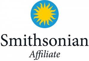 Approved Smithsonian Affiliate sunburst logo with the word affiliate italicized beneath the word smithsonian all under the blue and yellow sunburst.