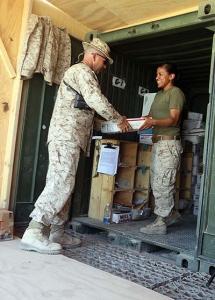 Soldier delivering mail
