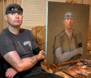 Soldier with painting.