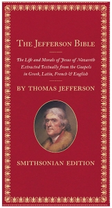 Image of a book with a red cover, the Jefferson Bible, Smithsonian edition
