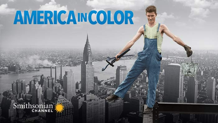 Trailer image for the Smithsonian Channel program America In Color. Scene is of a man in overalls holding tools while balancing on a beam of a skyscraper being built.