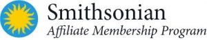 Smithsonian Affiliate Membership Program logo with blue and yellow sunburst at the left