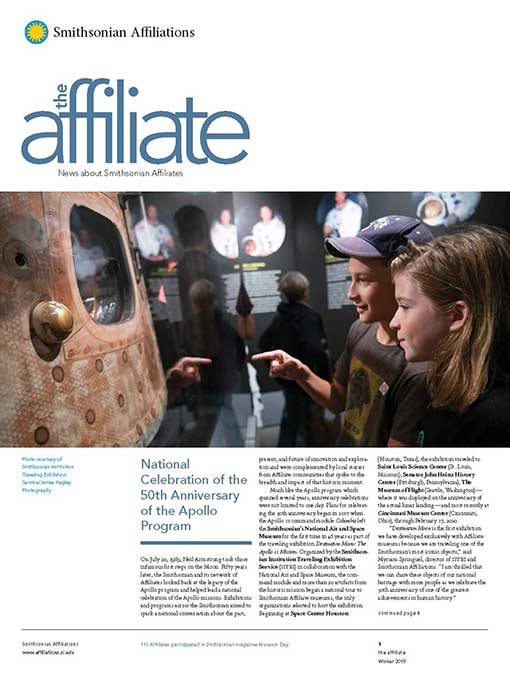 Front page of the Winter 2019 Affiliate Newsletter featuring two children viewing the Apollo space capsule.