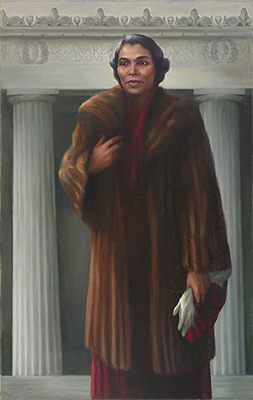 marian anderson, an african american woman, in a fur coat