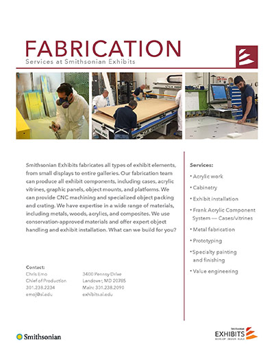 page from the exhibits overview about fabrication