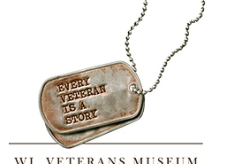 Wisconsin Veterans Museum logo which depicts a dogtag with the text every veteran is a story on the tag.