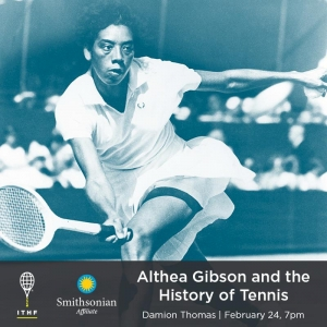 Professional tennis player Althea Gibson in full motion hitting a difficult tennis shot.