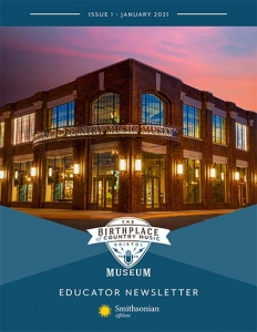 Birthplace of Country Music Museum ad featuring the yellow Smithsonian Affiliate sunburst logo and an image of the museum's building exterior.
