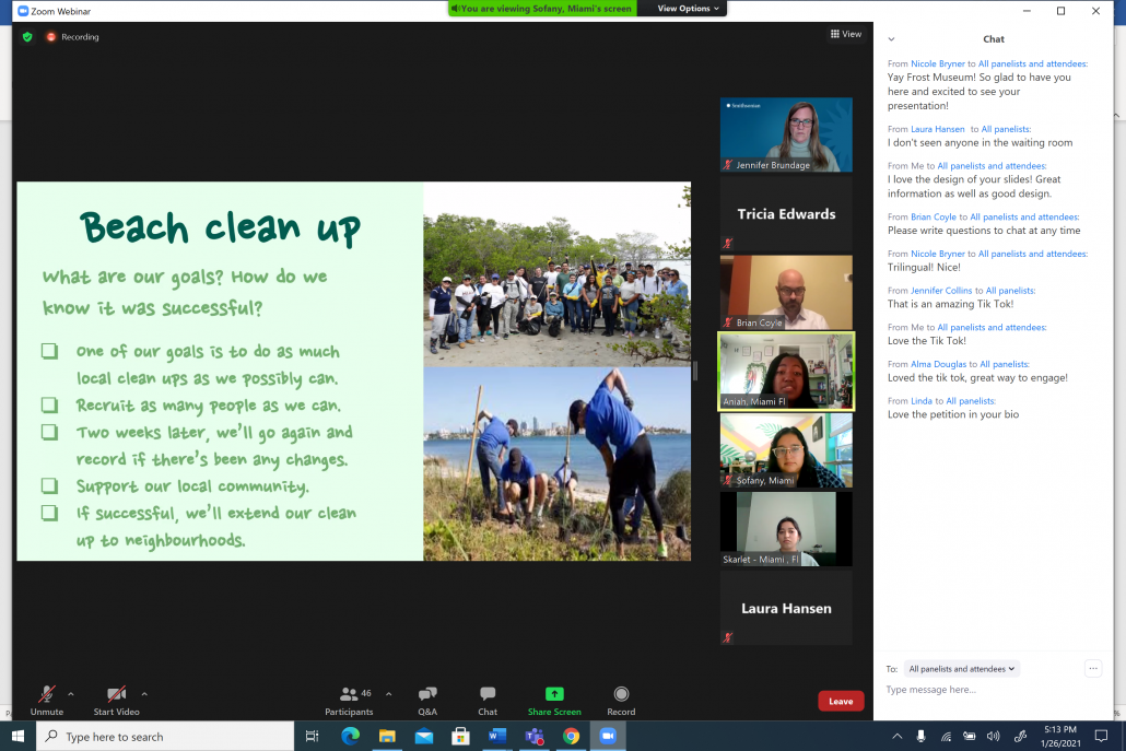 Screen shot of a student presentation showing a proposal for beach cleanup, and student speakers