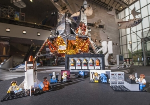Lego sets showing women innovators in space history, positioned in a gallery at the National Air and Space Museum
