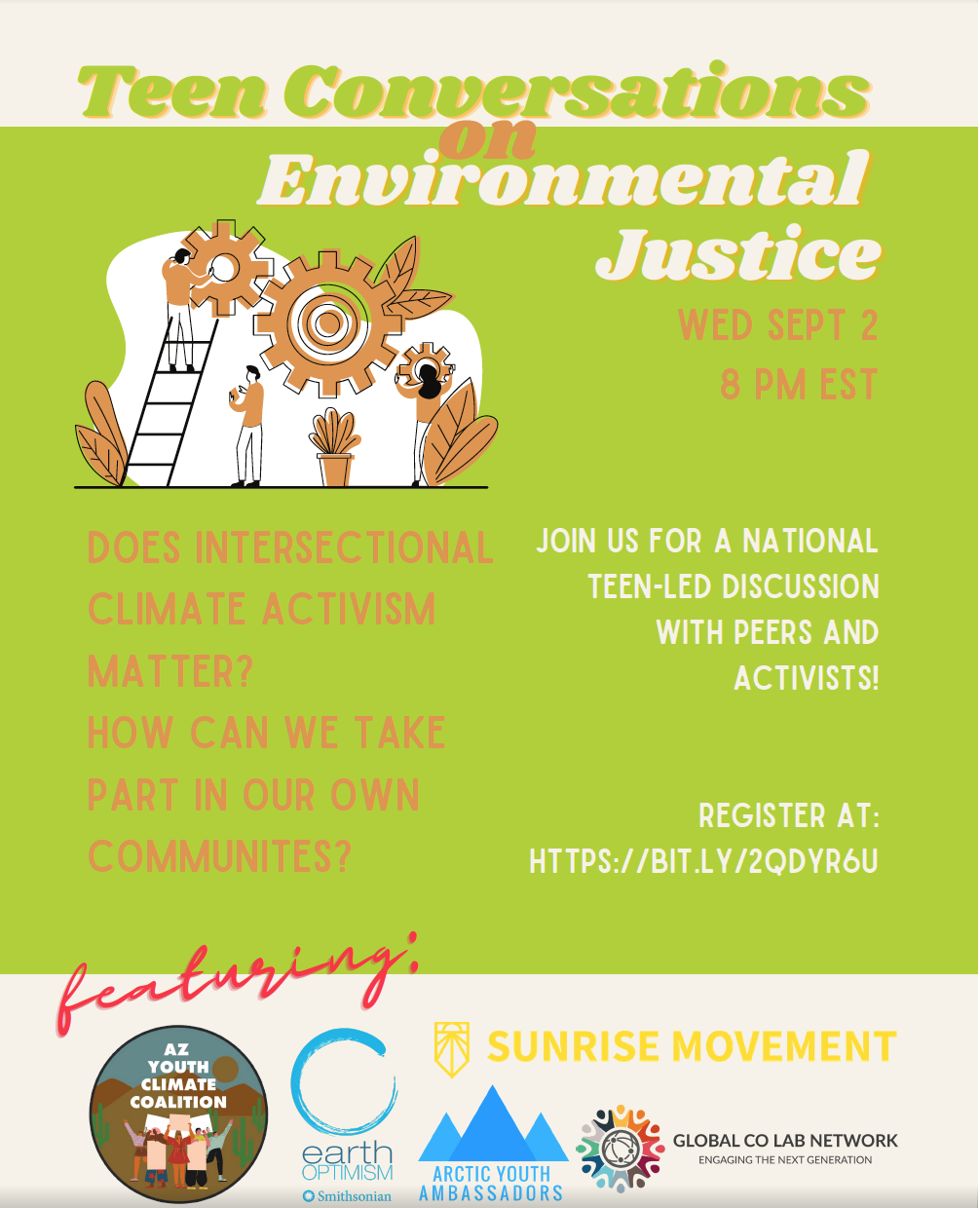 Image shows flyer of a monthly Teen Conversation on Environmental Justice