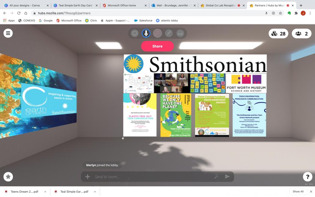 Virtual reality room showing various environmental virtual posters on a gray wall