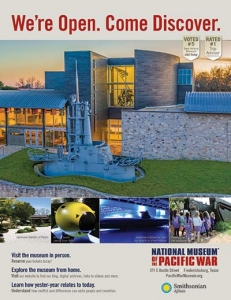 National Museum of the Pacific War ad with Smithsonian Affiliate logo at bottom right. Ad features an exterior photo of the building.